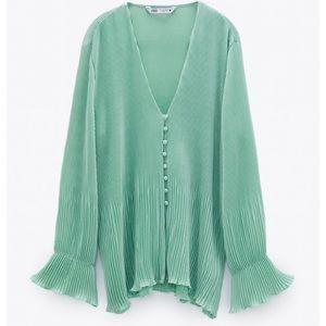 NEW Zara Pleated Mint Sea Green Flowy Light Blouse